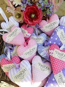 Darčeky pre svadobčanov - Svadobné srdiečka THANK YOU, 11 cm - 8313555_