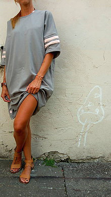 Šaty - =  grey & pink = - 8313441_