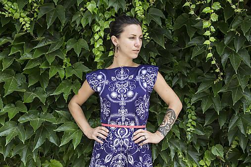Folky blue - letné midi šaty