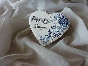 Dekorácie - Srdce s hudobným motívom - 8317029_