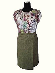 Sukne - ľanová, prekladaná sukňa - 8316541_