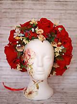 Ozdoby do vlasov - Červená  kvetinová parta na štýl venčeka - 8317611_