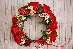Ozdoby do vlasov - Červená  kvetinová parta na štýl venčeka - 8317612_