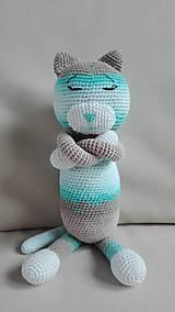 Hračky - Háčkovaná spiaca mačka Micka - 8317351_