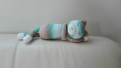 Hračky - Háčkovaná spiaca mačka Micka - 8317304_