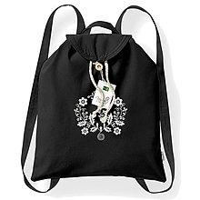 Batohy - Bavlnený festivalový ruksak, čierna, výšivka Záhorie - 8315940_