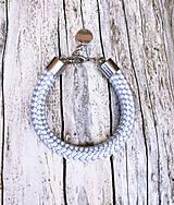 Náramky - Náramok silver-grey s karabínkou - 8317563_