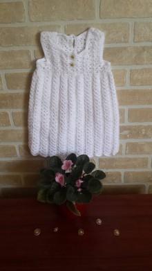 Detské oblečenie - Biele háčkované šaty pre dievčatko - 8316432_