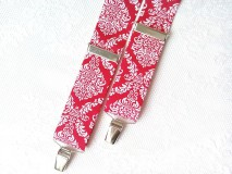 Doplnky - Vintage pánske traky (červené/biele) - 8321205_