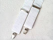 Doplnky - Bodkované pánske traky (biele/strieborné bodky) - 8321222_