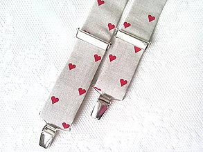 Doplnky - Valentínske pánske traky (béžové/červené srdiečka) - 8320260_