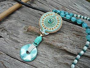 Náhrdelníky - Soutache náhrdelník Tyrkysový Budha v zlate - 8319037_
