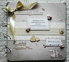Papiernictvo - Vintage svadobný béžový veľký fotoalbum - 8321032_
