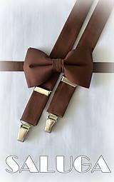 Doplnky - Pánsky hnedý motýlik - čokoládový a traky - 8320005_