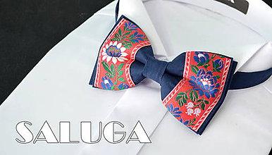Doplnky - Folklórny pánsky modrý s červeným motýlik - folkový - ľudový - 8319272_