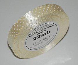Galantéria - Stuha béžová s bodkami 6004 -12 mm / 22 m - 8320025_