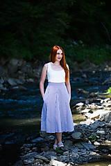 Sukne - Sukňa modré prúžky - 8319086_