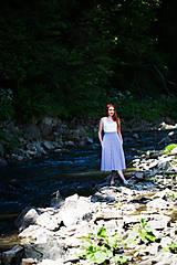 Sukne - Sukňa modré prúžky - 8319087_