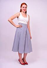 Sukne - Sukňa modré prúžky - 8319092_