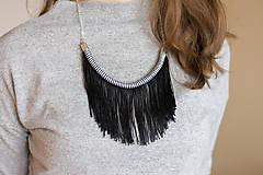 Náhrdelníky - Zľava 50%: Čierno-biely strapcový náhrdelník •• - 8320778_