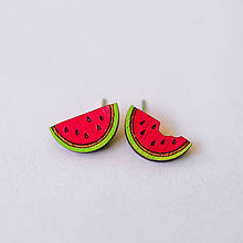 Náušnice - melóny červené - napichovačky - 8321019_