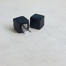 Náušnice - Betónky Cube black (kocky) - 8319940_