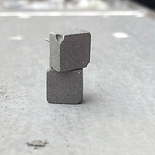 Náušnice - Betónky Half - Cube gray (kocka) - 8319989_