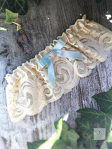 Bielizeň/Plavky - Svadobný podväzok Ivory - blue - 8321469_