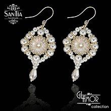 Náušnice - Náušnice: Bielo-zlaté so Swarovskim (Ag 925) - 8321408_