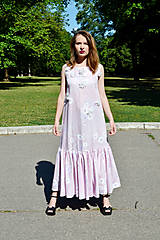 Šaty - Dlhé bavlnené šaty s volánom - 8321056_