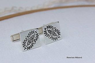 Šperky - Manžetové gombíky s folklórnym vzorom z Považia - 8319967_