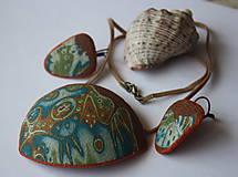 Sady šperkov - Mokume sada modro-zeleno-oranžová - 8319679_