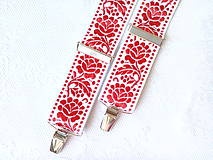 Doplnky - Wedding folklore suspenders (red/white) - 8321736_