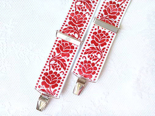Wedding folklore suspenders (red/white)