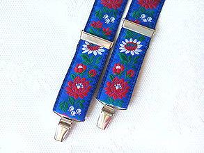 Doplnky - Folklórne pánske traky (kráľovsky modré) - 8321770_