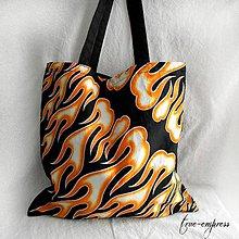 Nákupné tašky - Rocková nákupná taška s plameňmi - 8321996_