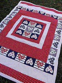 Úžitkový textil - PŘEHOZ 137 x 192cm ...srdíčka - 8322210_