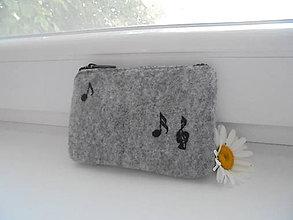 Peňaženky - Vyšívaná peňaženka - noty - 8322300_