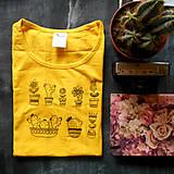 Tričká - Kaktus tričko (žlté) - 8323935_