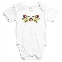 Detské oblečenie - Detské bavlnené body biele s výšivkou Vajnory - 8321994_