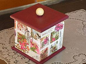 Krabičky - Krabička s poklopem - vintage bordó - 8322748_