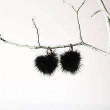 Náušnice - Bambulkové náušnice čierne - 8322744_