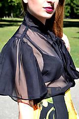 Topy - Transparentný čierny organzový top s maximalistickými rukávmi - zľava  - 8321530_