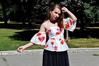 Topy - Bavlnený korzetový top s vlčími makmi - zľava - 8321571_
