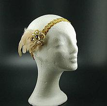 Ozdoby do vlasov - Great Gatsby Gold ... čelenka a brož - 8325853_