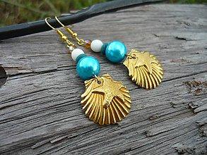 Náušnice - Náušnice Zlaté mušle v tyrkysovom mori - 8325438_