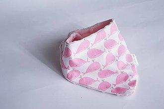 Detské doplnky - Nákrčník pink minky / ružová veľryba - 8324403_