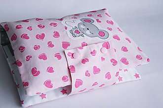 Detské doplnky - Obal na knihy ružový s myškou - 8324911_