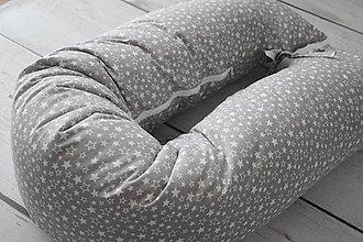 Textil - Medzinožník - vankúš na dojčenie sivé hviezdičky - 8325420_