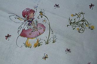 Textil - Látka Víly na bielej - 8324351_